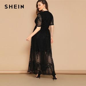 Image 3 - SHEIN Plus Size Black Eyelet Lace Insert Plunge Neck Mesh Overlay Dress 2019 Women Summer Glamorous Deep V Neck High Waist Dress