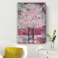 Handmade thick knife high quality Modern Abstract Fine Artwork Canvas Decor Pink tree Sakura Tree Bedroom artwork Wall Oil