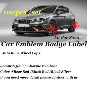 60mm 2.36inch For Seat Cordoba Ibiza Cupra Leon Toledo Altea Car Emblem badge Auto Rims Wheel Covers Label 100pcs Wholesale