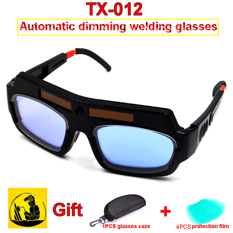 TX-012 Solar Energy Automatic Dimming Welding Glasses 1PCS Dimming Glasses + 1PCS Glasses Case +4PCS Outer Protective Sheet