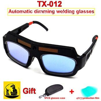 TX-012 energia Solar escurecimento Automático soldagem óculos 1 pcs escurecimento óculos + 1 pcs óculos caso + 4 pcs exterior folha de protecção
