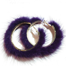 ФОТО  ualgl fashion round shape real mink jewelry winter big fur earrings for women party clothing accessories pendientes de invierno