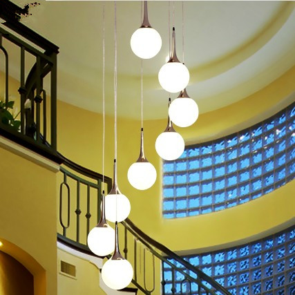Stairs lights American staircase rotary long villa double creative glass personalized restaurant LED lamp Pendant Light FG35 stairs lights chinese villa k9 crystal led long pendant lights rotary double staircase living room lighting pendant lamps za