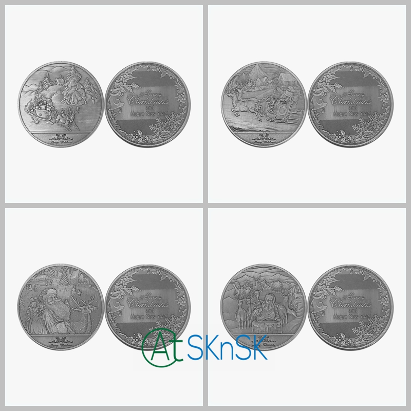 Wholesale 50pcs 4 Multi design Merry Christmas coins collectible Commemorative coins medals Santa Claus Christmas coins for gift