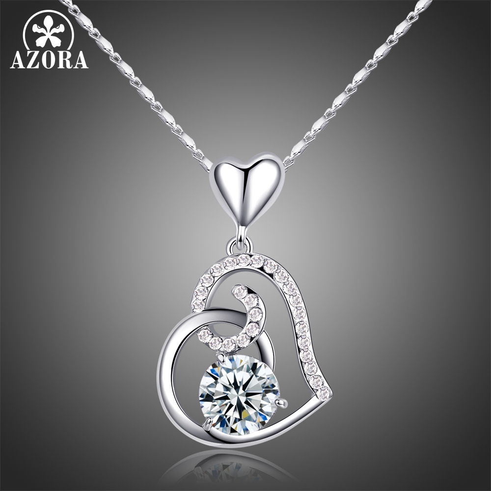 AZORA Valentine's Day Gift of Love Clear Heart Top grade AAA Cubic Zirconia Pendant Necklace TN0156
