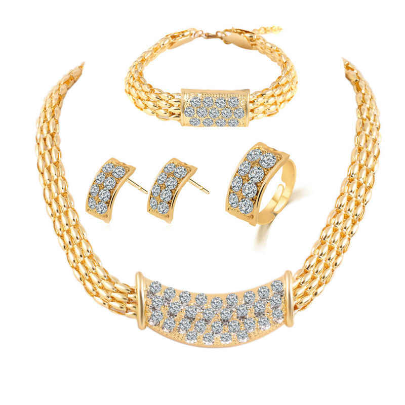 Hot Sale Nigerian African Costume Jewelry sets Gold-Color Crystal Chunky Necklace Bracelet Earrings Set for women Weddings