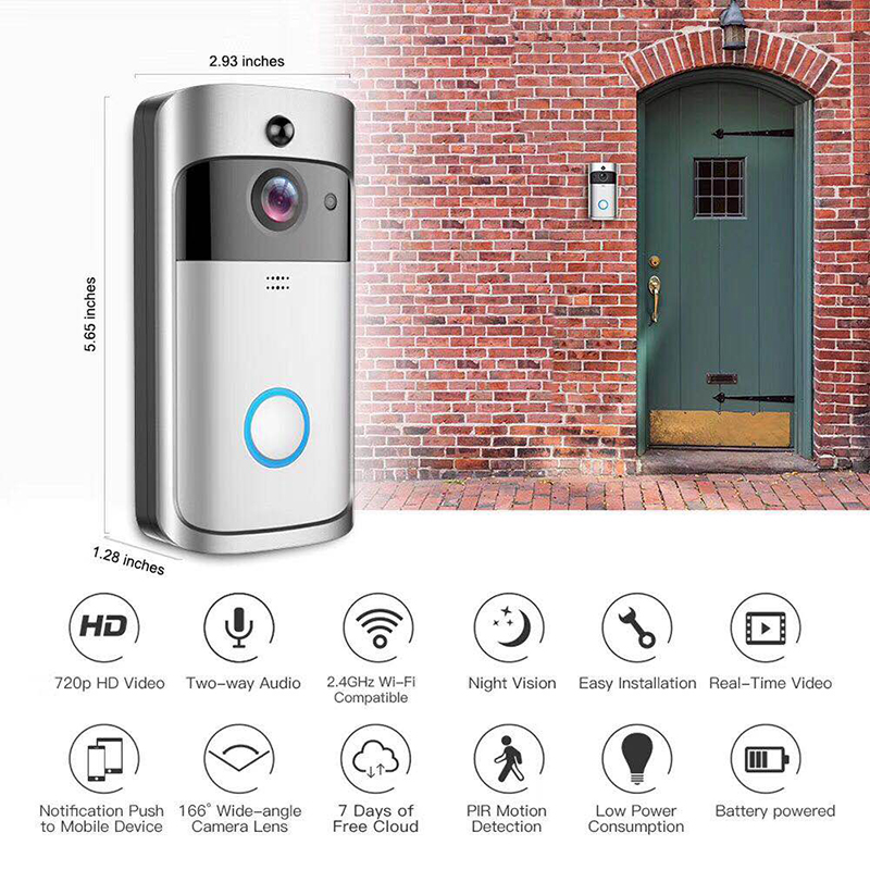 Smart Wireless WiFi Security Eye Door Bell Visual Recording Remote Home Monitor Night Video Intercom Cam Phone Camera Doorbell