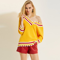 Sisjuly Women Sweater Knitted Pullovers Loose V Neck Causal Outwear Batwing Female Yellow Shirt Autumn Winter