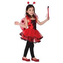 Niños conjuntos traje de la Mariquita juguete cosplay disfraces de Halloween chica modelos incluyen Vestido de alas de Mariposa varita Mágica Cabeza hebilla(China (Mainland))