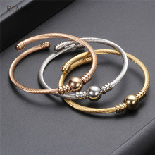 Romad Bracelet Multi Twisted Cable Wire Bangle Adjustable Bangles With Metal Bead Fashion Stainless Steel Jewelry For Women new arrival spring wire line colorful titanium steel bracelet stretch stainless steel cable bangles for women