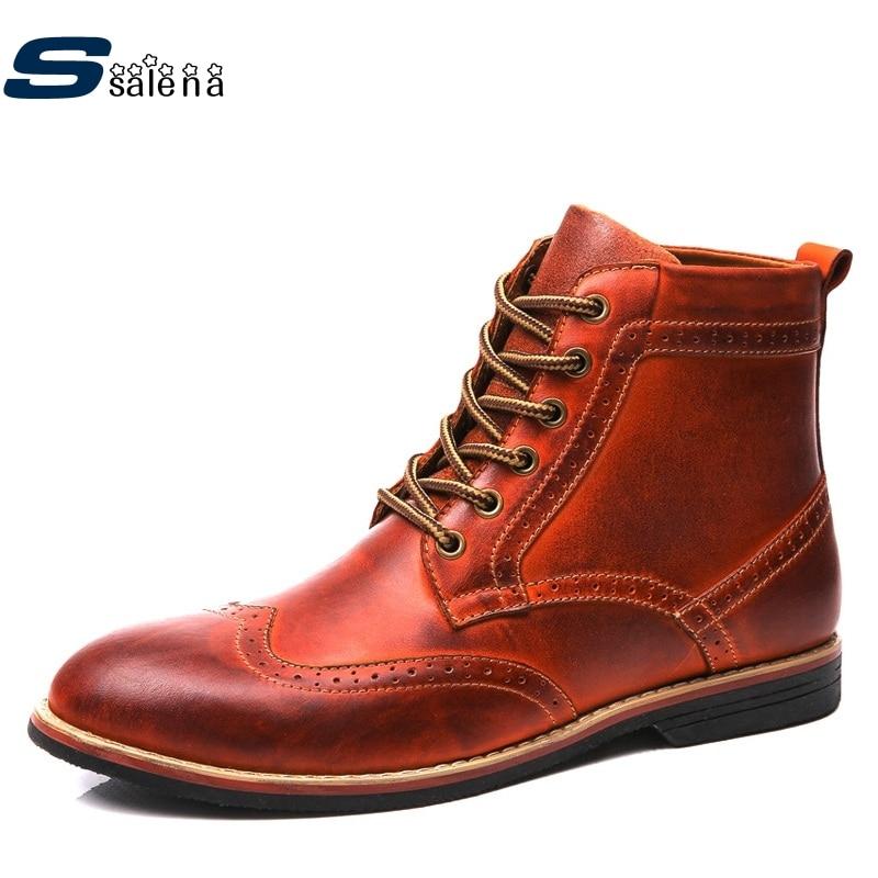 Genuine Leather Platform Boots Men Soft Footwear Classic Cowboy Boots Spring Autumn Outdoor Shoes AA20206 spring autumn boots women soft footwear classic boots female comfortable outdoor shoes aa20131