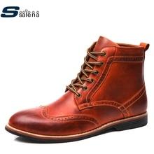 Натуральная кожа ботинки на платформе Мужская мягкая обувь классические ковбойские ботинки Демисезонный Уличная обувь AA20206