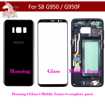 For Samsung Galaxy S8 G950 G950F S8 Battery Housing Case Back Cover + Front Screen Glass + Middle Frame Complete Parts смартфон samsung galaxy s8 sm g950f 64gb жёлтый топаз