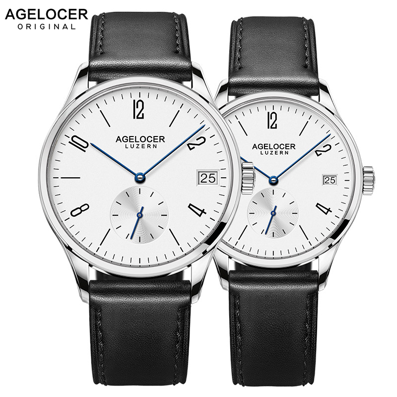 Swiss New Style AGELOCER Luxury Automatic Couple Watches Mens Womens Clock Leather Band Wrist Watch For Lovers Montre Homme