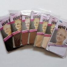 60PCS (30 Packs) perücke Kappen Für Die Herstellung Von Perücken Stocking Perücke Cap Snood Nylon Stretch Mesh Net 2 teile/paket In 7 Farben Weben Kappe
