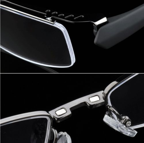 Image 4 - Magnetic Polarized Clip on half rim Eyeglasses Frame Night Driving sunglasses Rx-in Men's Sunglasses from Apparel Accessories