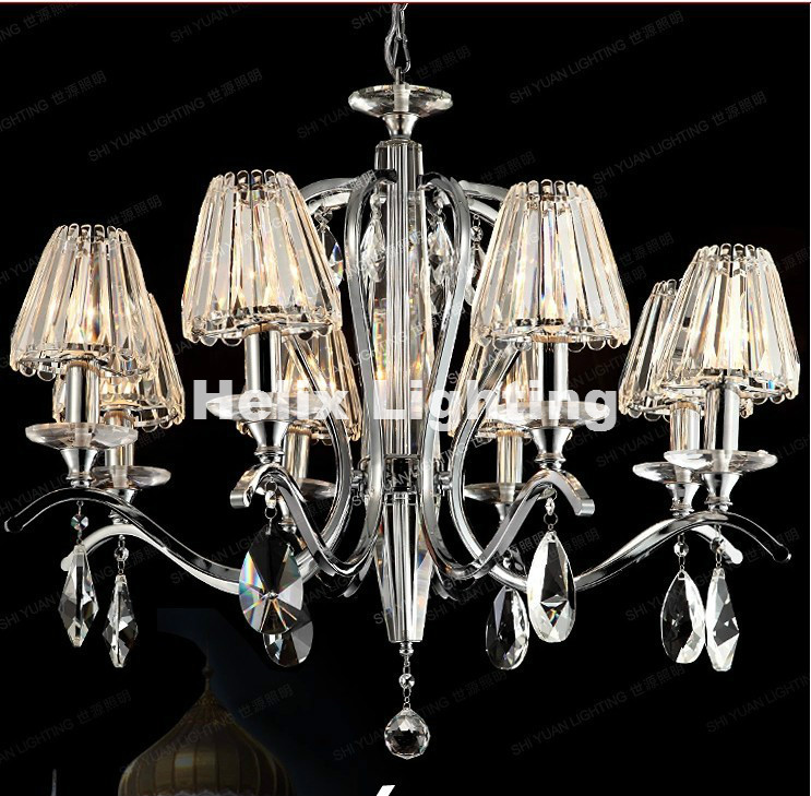 Free Shipping 8 Bulbs European Candle K9 Clear Crystal Chandeliers Ceiling Living Room Modern E14 LED AC Wholesale Chandelier modern crystal chandelier led hanging lighting european style glass chandeliers light for living dining room restaurant decor
