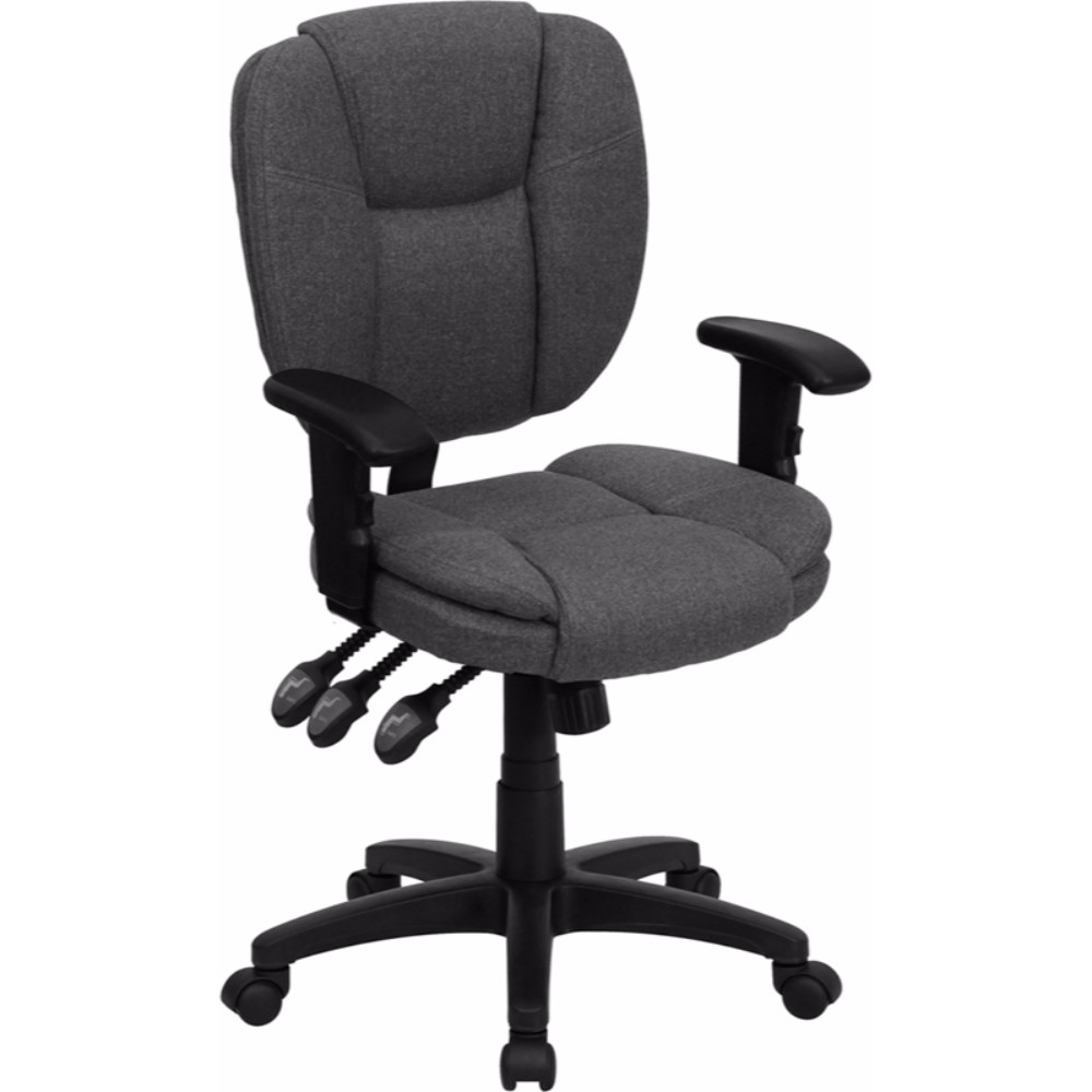 Flash Furniture Mid-Back Gray Fabric Multi-Functional Ergonomic Task Chair with Arms [863-GO-930F-GY-ARMS-GG] dark gray off shoulder jumpsuit with multi functional neck