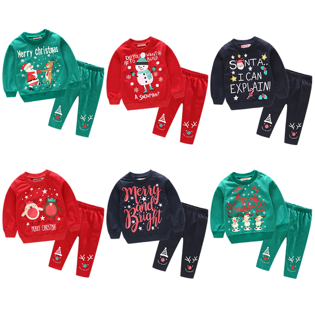 92c8fc828 New Baby Santa Claus Sets Outfits Pullover Kids Girls Boys Autumn ...
