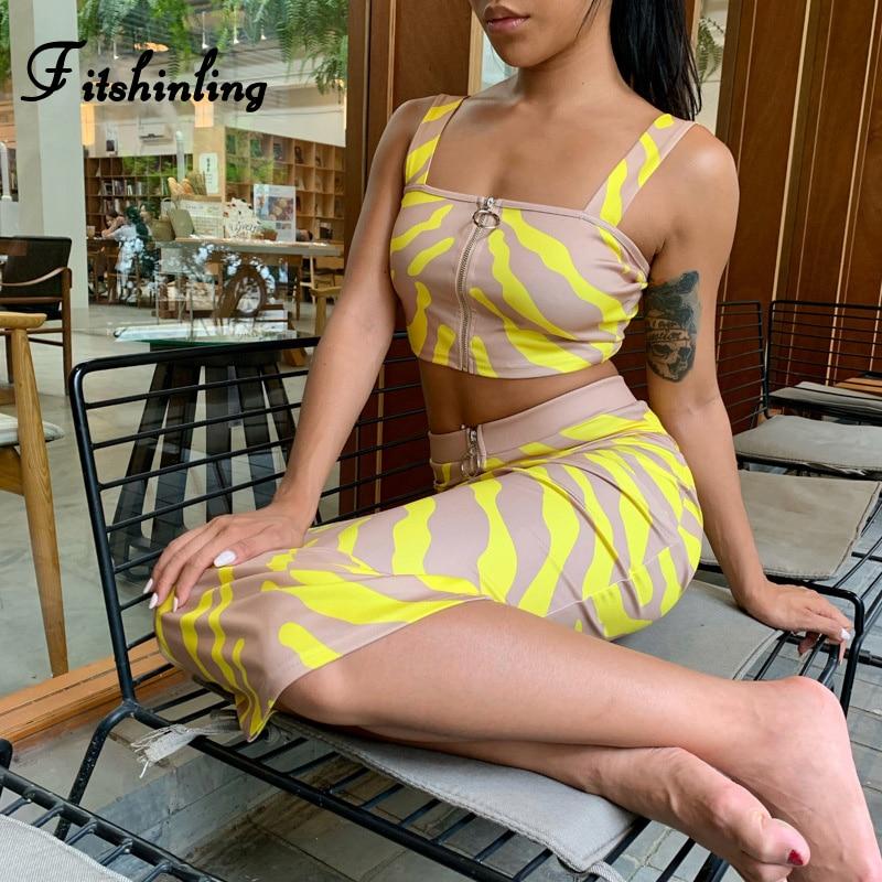 Fitshinling Streetwear Leopard 2 Piece Set Women Summer Clothes Zipper Yellow Slim Sexy Hot Crop Top Long Skirt Matching Sets