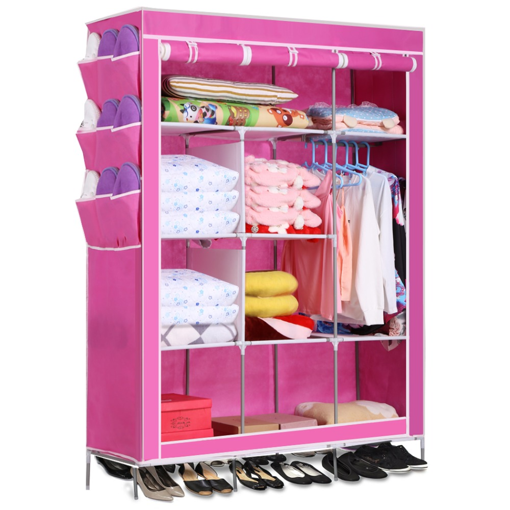 5 Color Homdox Portable Closet Storage Organizer Wardrobe Canvas Wardrobe  WIth Hanging Rail Storage Home Furniture