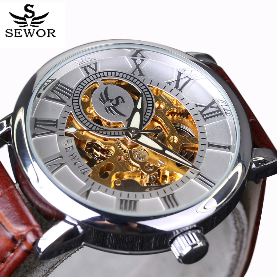SEWOR Top Luxury Brand Classic Design Skeleton Mens Watches Fashion Montre Homme Casual Mechanical Watch Erkek Kol Saati New стоимость