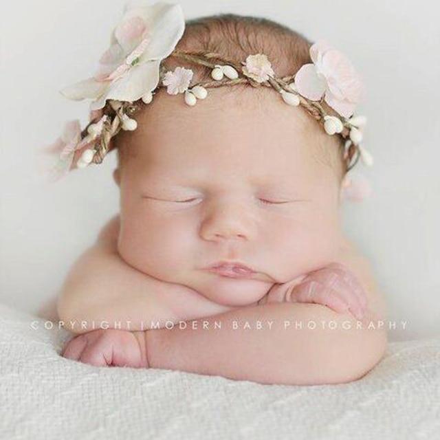 d6ce0a2381e Newborn Flower Crown Headbands Lovely Kids Flower Tiara Headband Girls  Headwear Photography props Hair Accessories