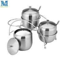 7pcs Set Stainless Steel Spice Jar Set Seasoning Pot With Spoon Salt Pepper Sugar Storage Container