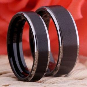Image 4 - Obrączka męska obrączka damska moda pierścionek zaręczynowy matowy czarny ze srebrnym pierścieniem wolframowym 100% wolframowy palec serdeczny