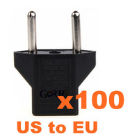 100 X US USA To Euro EU Travel Plug AC Power Charger Adapter Quality Free Shipping