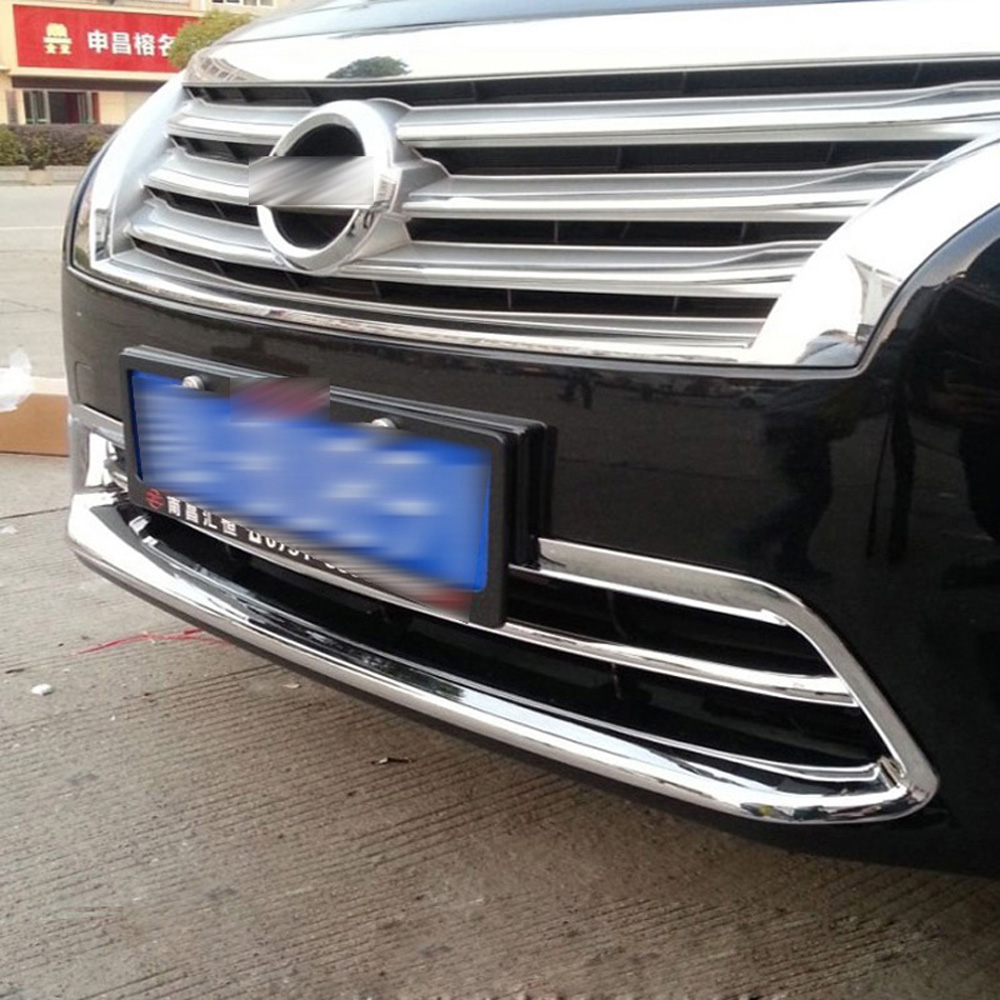 For Nissan Teana Altima 2013 2014 ABS Chrome Front Bottom Center Grille Grill cover trim Accessories Decorations Trims high quality abs chrome 2pcs up grill trim lower grill trim grill decoration trim grill streamer for honda city 2015 216