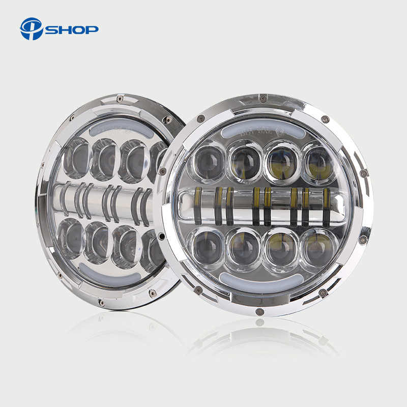 1PC Car Headlight 7 INCH 80W Car LED Headlight Hi/Lo Beam DRL for Jeep Wrangler JK Round Motorcycle led headlamp 2pcs new design 7inch 78w hi lo beam headlamp 7 led headlight for wrangler round 78w led headlights with drl