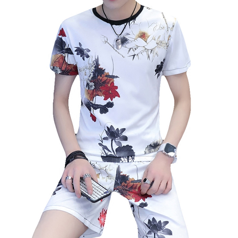 Chinese Style Bright Flower Printing Fashion T Shirt And Shorts Suit Summer 2018 New High-quality Ice Silk Mens Short Sets M-3XL