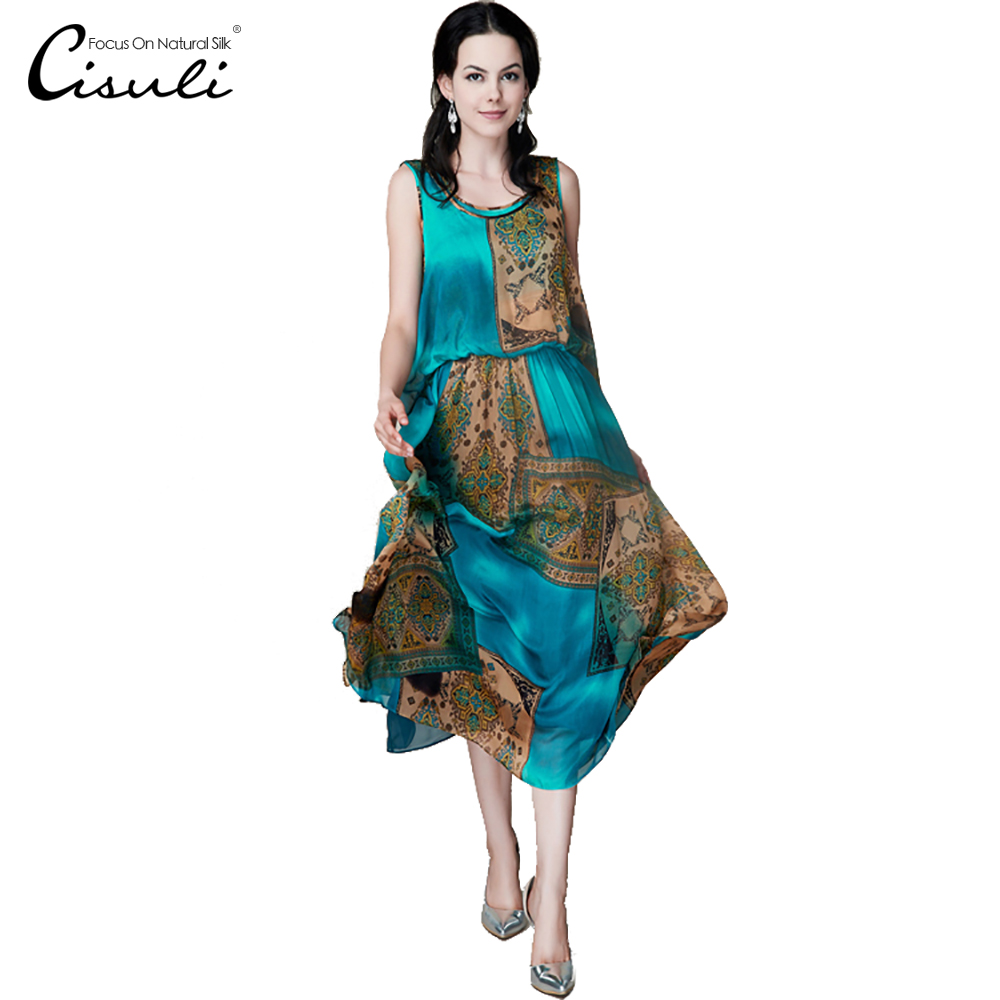 CISULI Silk Chiffon Dress Natural Silk Women Dress Exclusive Desigual Summer New Party Dress XL XXXL