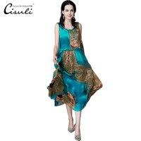 CISULI Silk Chiffon Dress Natural Silk Women Dress Exclusive Desigual Summer New Party Dress XL,XXXL,4XL