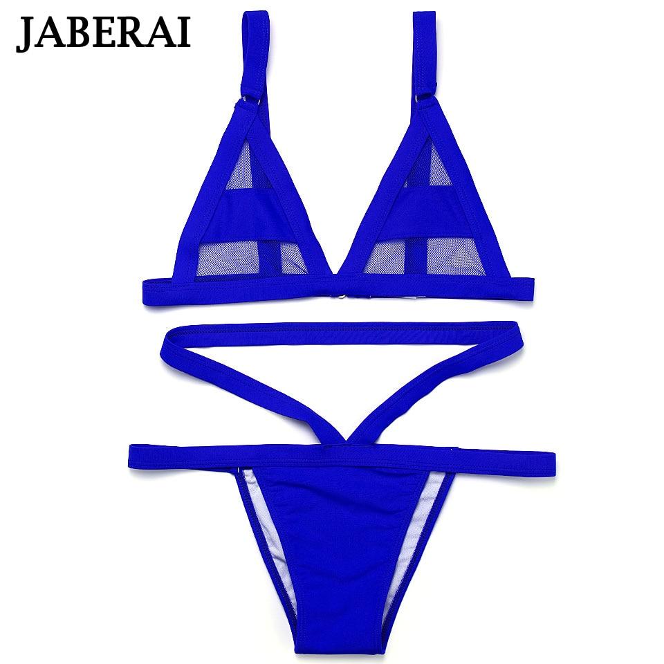 JABERAI Women s Sexy Mesh Bikini Set Hollow Out Bandage Swimsuit Strappy  Swimwear female Mini String Bathing b4c61b2b7