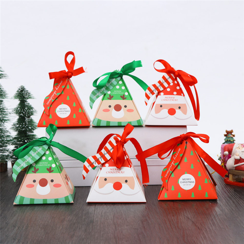 30pcs/lot ChristmasTriangular Pyramid Gift Box Wedding Favors And Gifts Candy Box Wedding Gifts For Guests Wedding Decoration