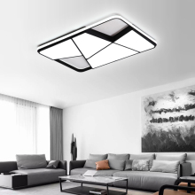 Прямоугольные современные светодиодные потолочные светильники для гостиной, спальни, кабинета, белые или черные 95-265 в квадратные потолочные лампы с RC