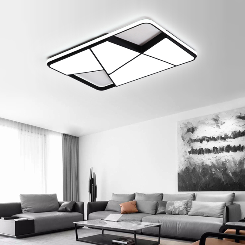 Rectangle modern led ceiling lights for living room bedroom study room white or black 95 265V square ceiling lamp with RC-in Ceiling Lights from Lights & Lighting