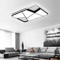Rectangle plafond moderne à LEDs lumières pour salon chambre bureau blanc ou noir 95-265V carré plafonnier avec RC