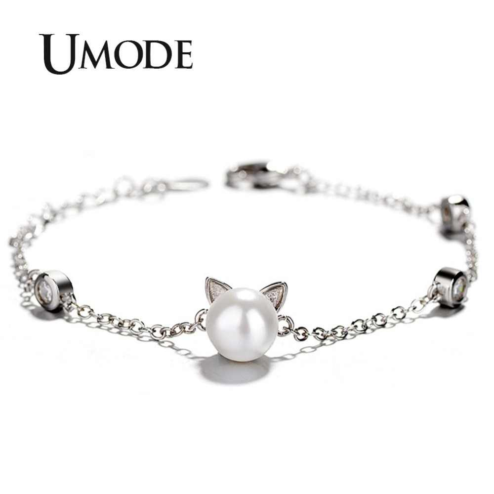 UMODE Cute Cat Ear Pearl Charm Adjustable Bracelet for Women Accessories Jewellery Gifts bangles pulseras mujer moda UB0143