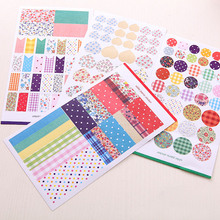 geometric floral round/rectangle/heart decorative sticker se