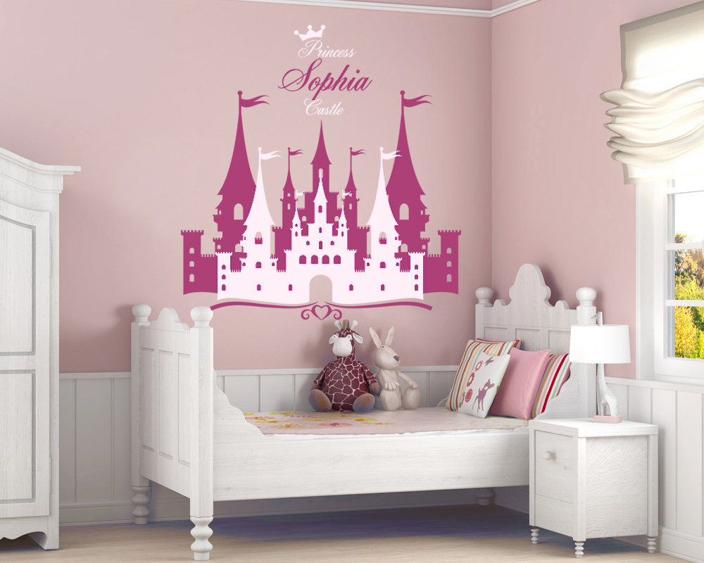 Princess Castle Wall Stickers Personalized Name Vinyl Decal Girl Nursery Wall Sticker Removable Castle Home Decor Mural ZA280