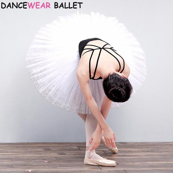 7 Layers Firm Tulle Professional Ballet Tutus White Swan Lake Costume Pancake Practice Rehearsal Platter Ballet Half Tutu Skirt