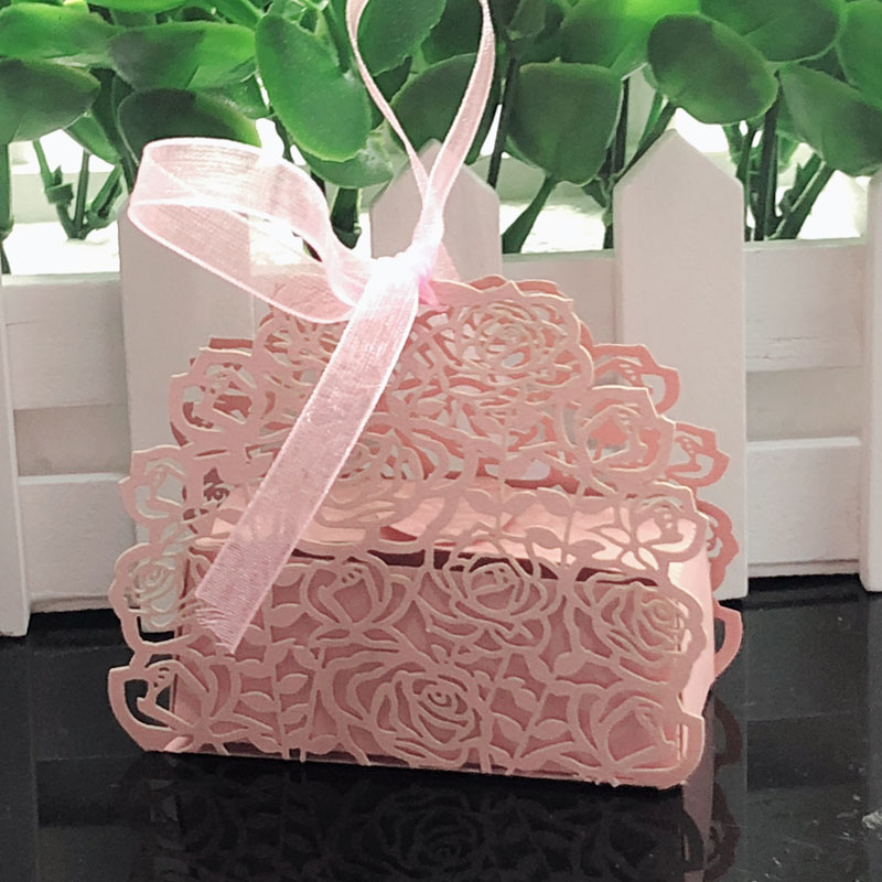 10pcs Rose Flower Shaped Laser Cut Hollow Carriage Gift Bags Candy Boxes With Ribbon Baby Shower Wedding Favors Party Supplies