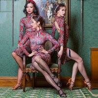 Hot Sale Latin Dance Dresses For Ladies Red Print Color Plus Size Fringe Skirt Professional Women