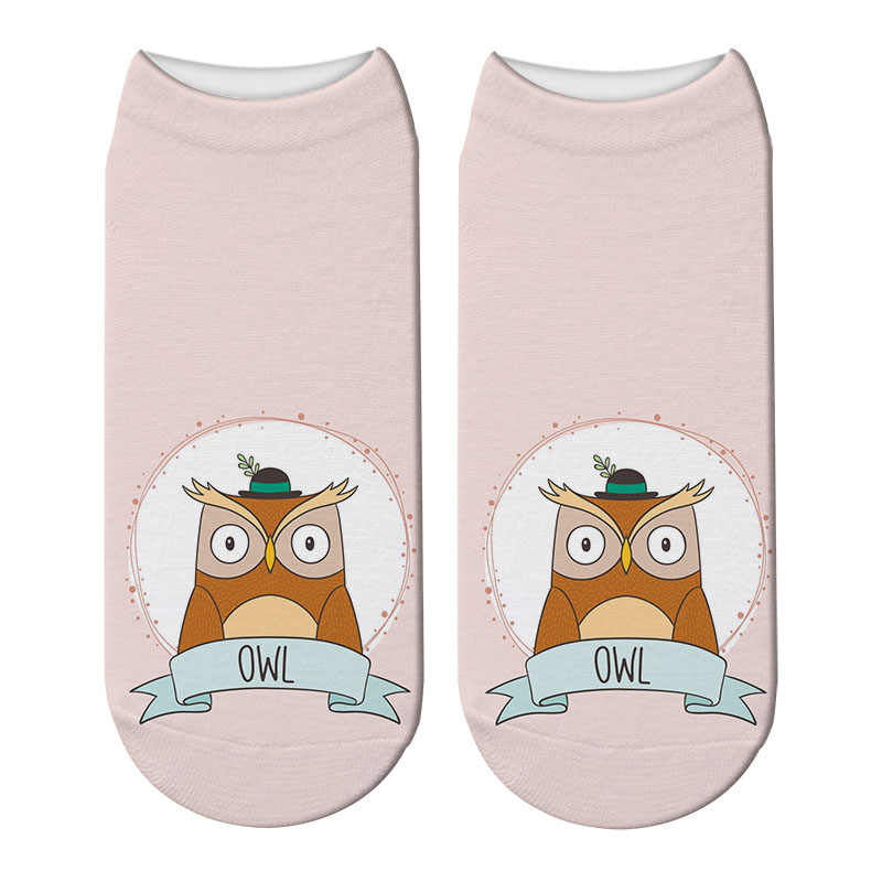 新しい 3Dプリント原宿フクロウ靴下動物女性のフクロウparttern綿の靴下猫プリントかわいい日本おかしいソックス