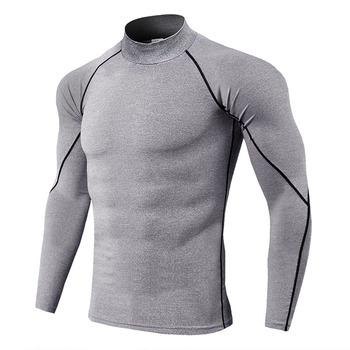 Bielizna termiczna dla mężczyzn wysoki kołnierz camiseta termica sport termo koszula szybkie pranie skompresowana bielizna odzież męska bielizna tanie i dobre opinie 100 Polyester STANDARD thermal underwear tops Stałe Poliester