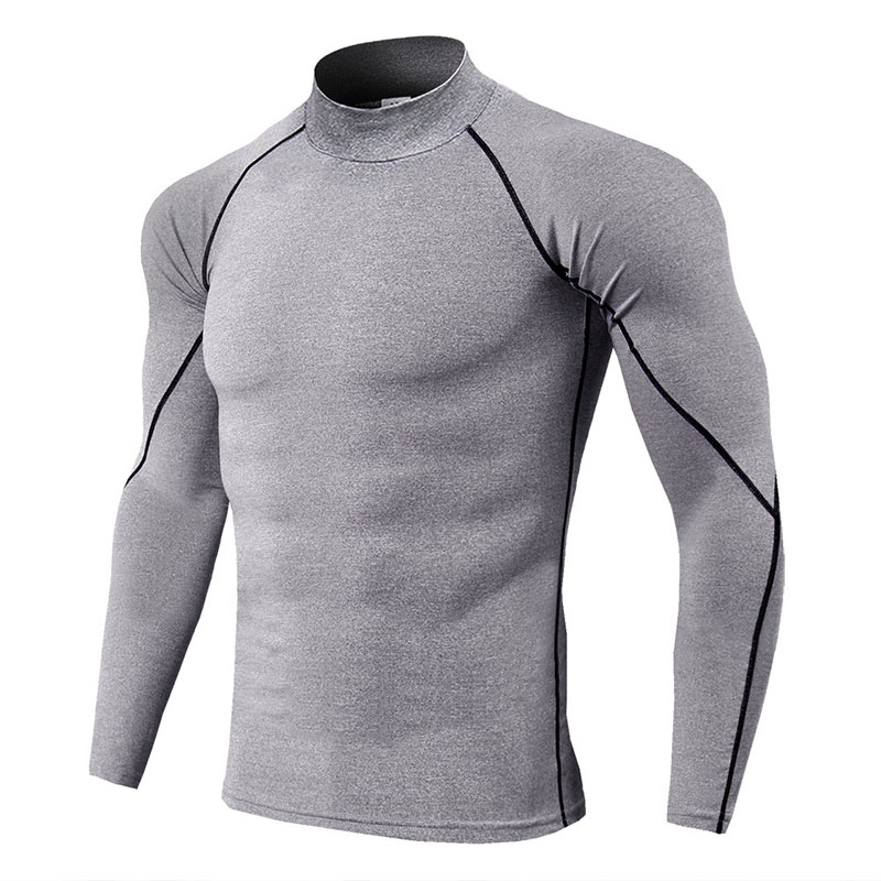 Thermal Underwear For Men High Collar Camiseta Termica Sport Thermo Shirt Quick Dry Compressed Underwear Clothes Men Bielizna