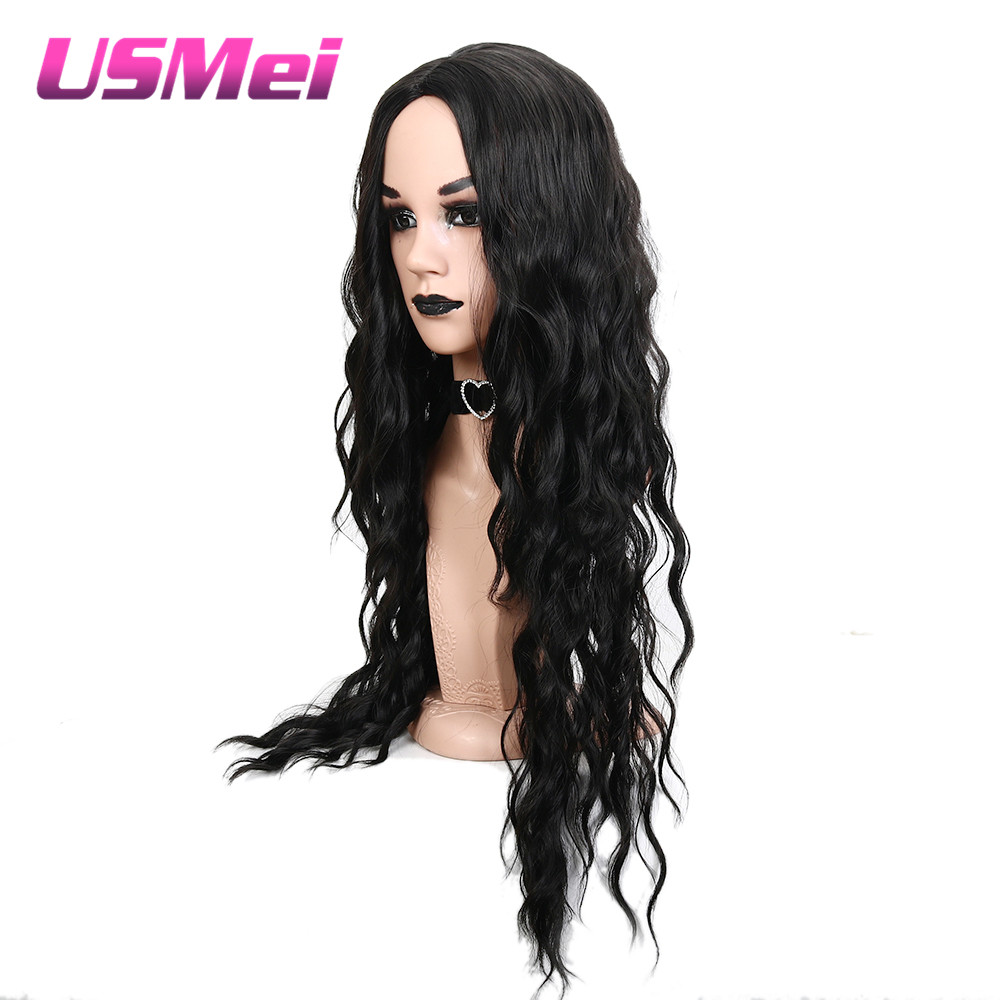 USMEI 30 1B# black Color Long Wavy Synthetic Hair Wigs for Women Cosplay wig Heat Resistant hair For Halloween Party